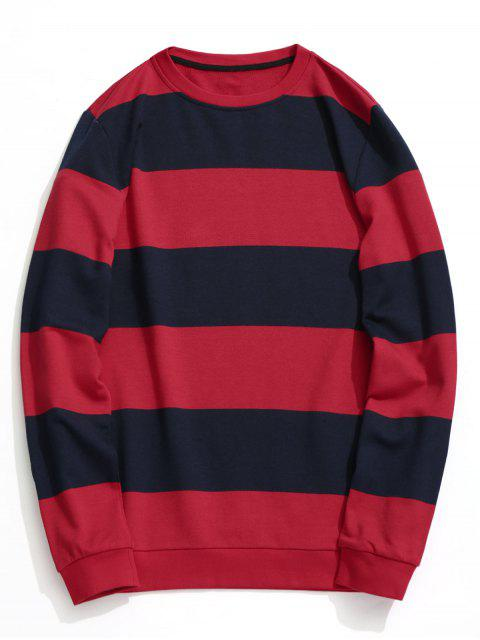 lady Color Block Crew Neck Knitwear - BLUE AND RED 2XL Mobile