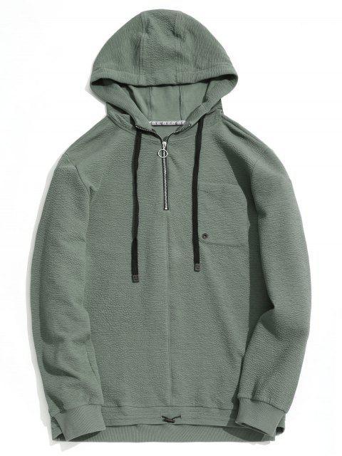 best Pocket Half Zipper Pullover Hoodie - SAGE GREEN 2XL Mobile