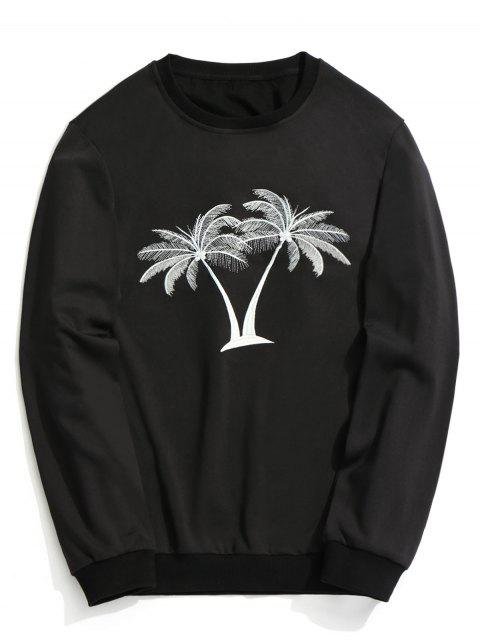 shop Coconut Palm Embroidered Sweatshirt - BLACK XL Mobile