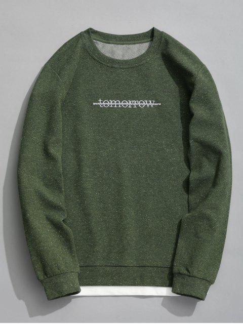chic Tomorrow Textured Sweatshirt - ARMY GREEN XL Mobile