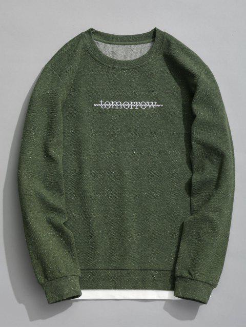 Sweat-shirt Texturé à Message - Vert Armée XL Mobile