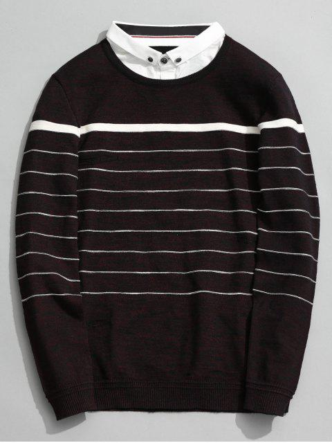 online Overlay Striped Knitwear - DARK RED 3XL Mobile