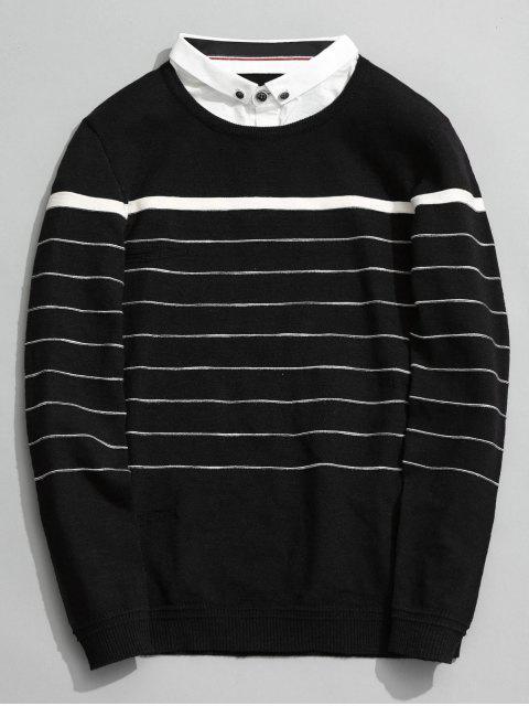 Tricots à rayures superposés - Noir 3XL Mobile