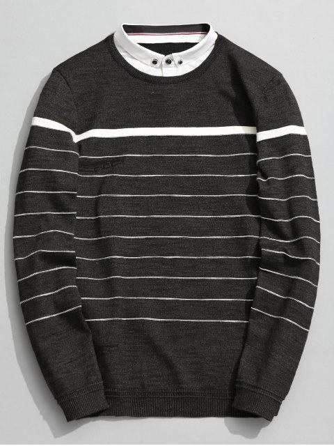 shop Overlay Striped Knitwear - GREEN GREY 2XL Mobile