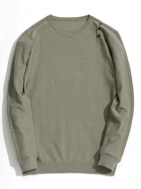Button Verzierte Strickwaren - Khaki 3XL Mobile