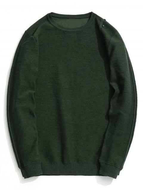 fashion Button Embellished Knitwear - ARMY GREEN 2XL Mobile