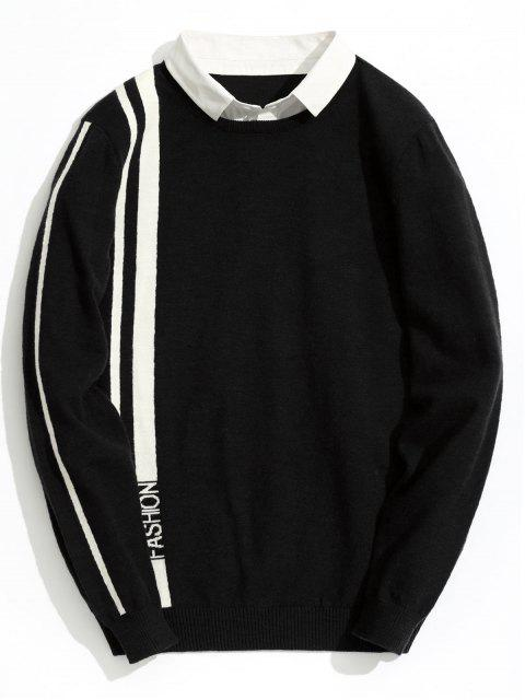 ladies Double Layered Fashion Striped Knitwear - BLACK 2XL Mobile