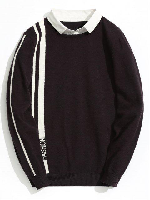 Pull Rayé Fashion à Double Couches - Rouge Foncé 3XL Mobile