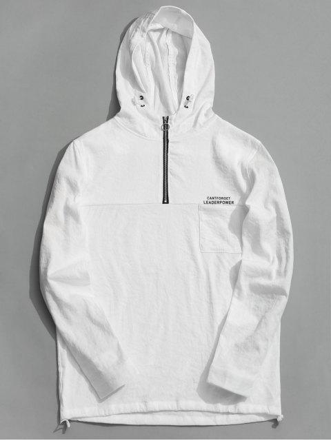 Sweat à Capuche Tunique à Demi-Zip - Blanc 2XL Mobile