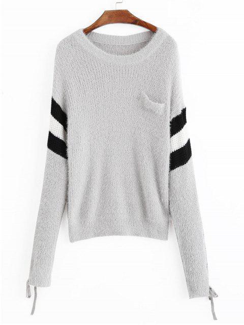 Suéter de rayas con mangas de encaje con hombros caídos - Gris Talla única Mobile