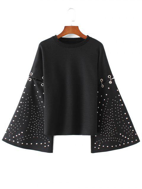Sweat-shirt Découpé à Manches Évasées avec Anneaux Métalliques - Noir S Mobile
