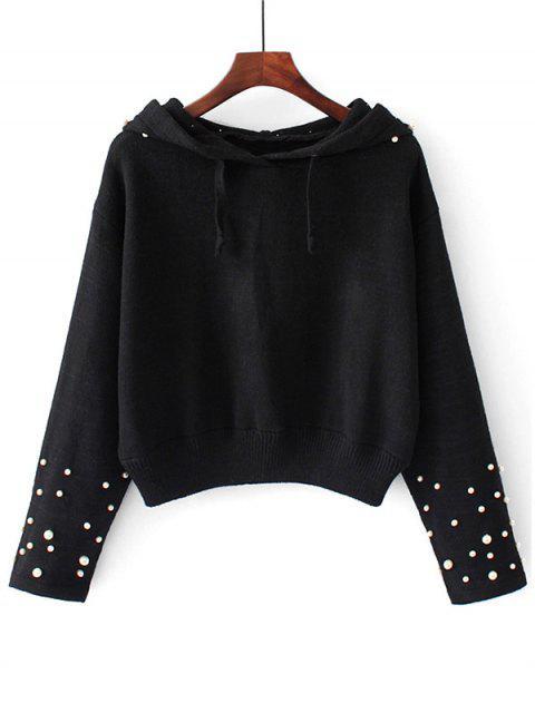 Suéter con capucha y perlas con capucha - Negro S Mobile