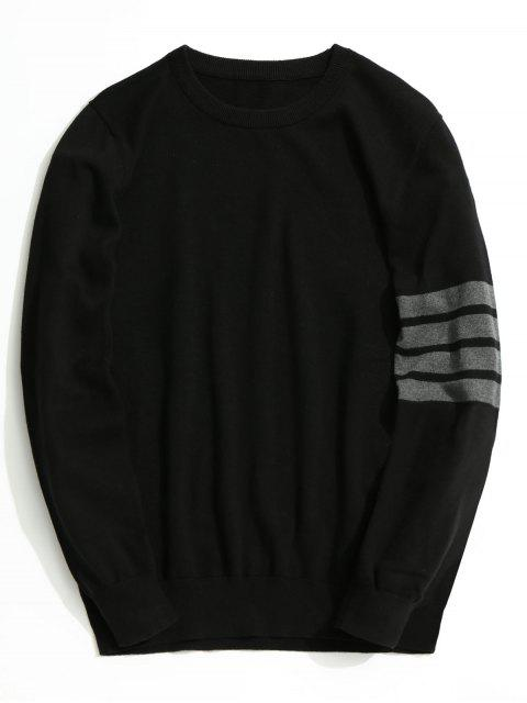 Prendas de punto a rayas con cuello redondo - Negro 3XL Mobile