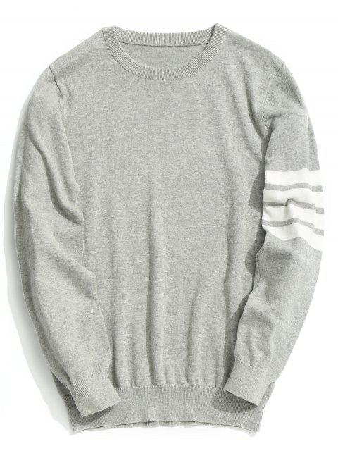 trendy Crew Neck Striped Sleeve Knitwear - GRAY 2XL Mobile