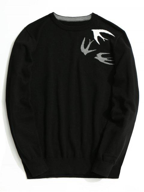 affordable Swallow Jacquard Knitwear - BLACK 2XL Mobile