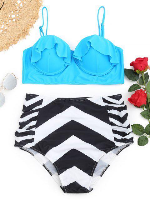 shops Frilled Zigzag Underwire Plus Size Bikini Set - LAKE BLUE XL Mobile