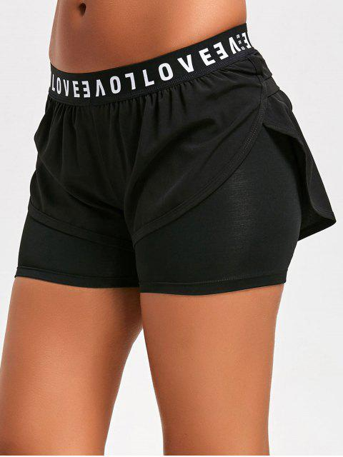 Quick Dry Double Shorts Sports - Noir M Mobile