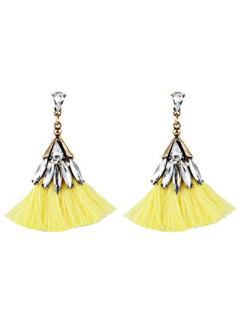 Kristall verzierte Fan-Form mit Fransen Ohrringe - Gelb  Mobile