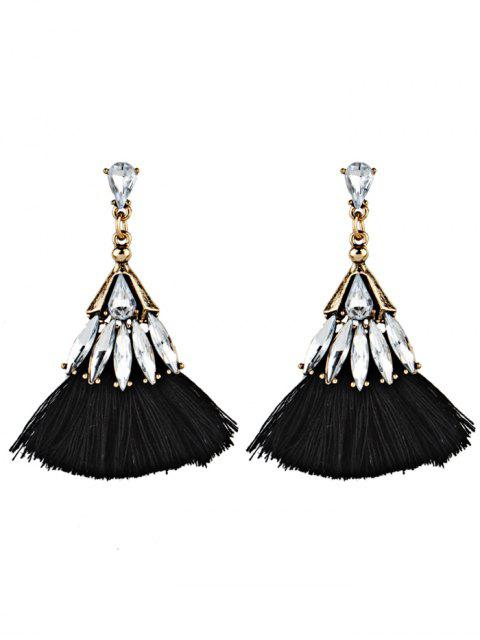 Boucles d'Oreilles Pendantes en Forme d'Éventail en Cristal et Frange - Noir  Mobile