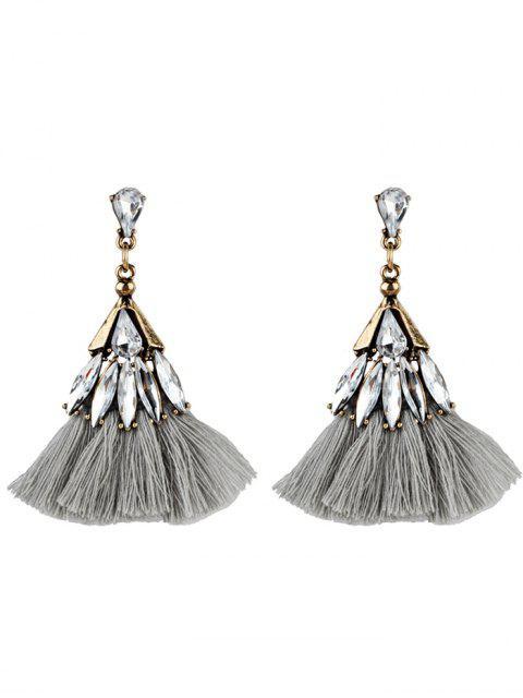 Kristall verzierte Fan-Form mit Fransen Ohrringe - Grau  Mobile