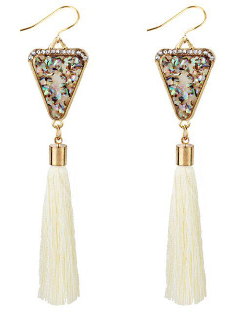 Forma de triángulo cristal adornado con flecos pendientes - Blanco  Mobile