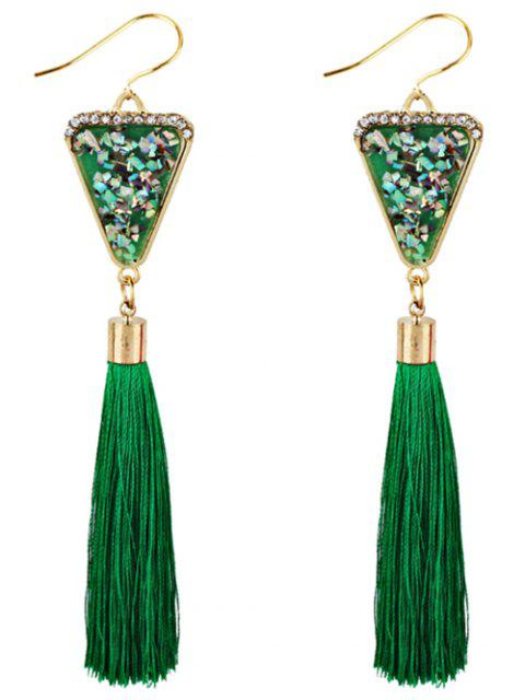 new Triangle Shape Crystal Embellished Fringed Drop Earrings - GREEN  Mobile