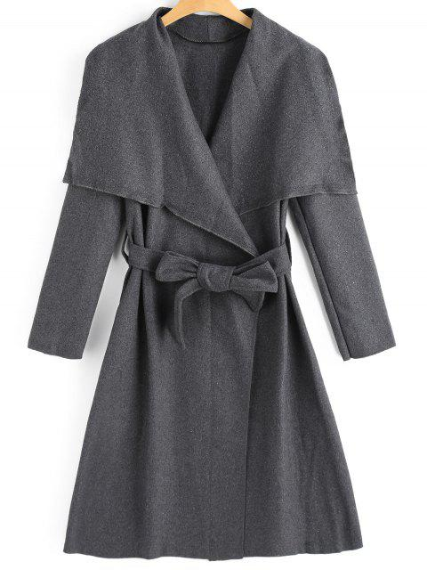 Abrigo de mezcla de lana con falda con cinturón - Gris Oscuro L Mobile