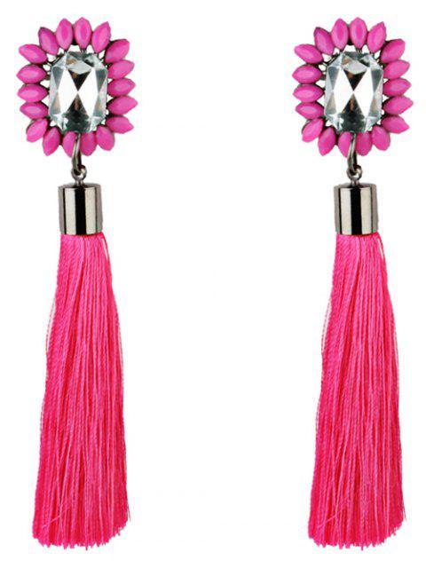 Pendientes de flecos con adornos de diamantes de imitación - Rojo  Mobile
