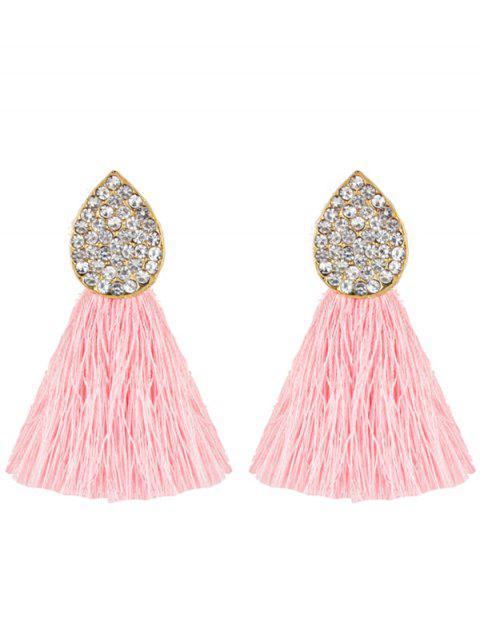 Pendientes de borla adornada con diamantes de imitación de la gota de agua - Rosado  Mobile