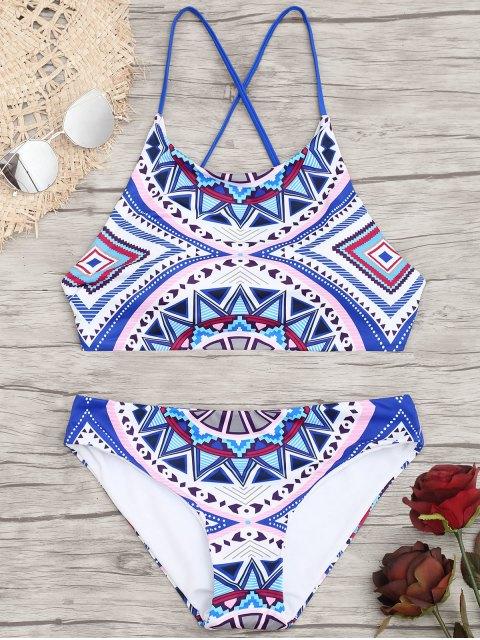 Bikini con estampado geométrico cruzado - Colores Mezclados L Mobile