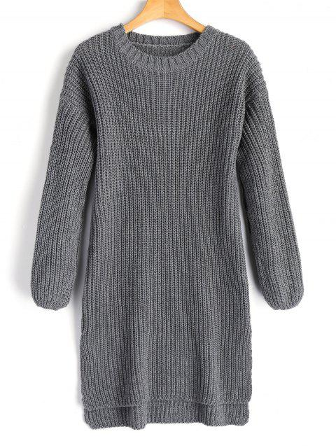 sale Longline High Low Slit Sweater - GRAY ONE SIZE Mobile