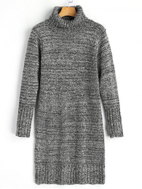 Langarm Hoher Hals Meliertes Pullover Kleid - Hellgrau Eine Größe Mobile