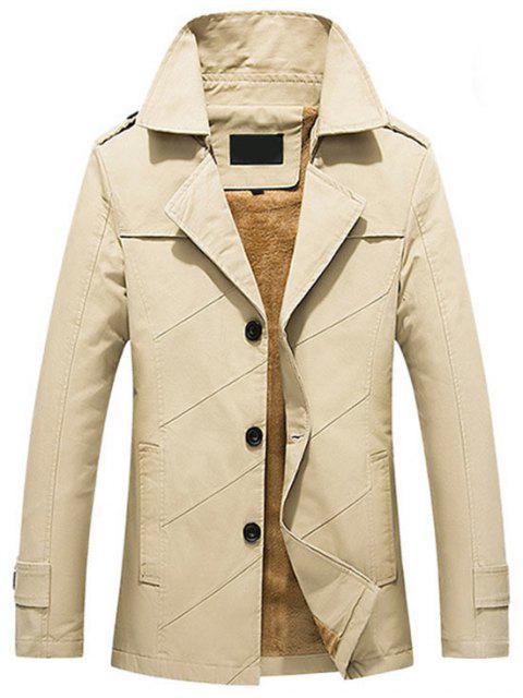 shop Button Up Fleece Mens Coat - LIGHT KHAKI L Mobile