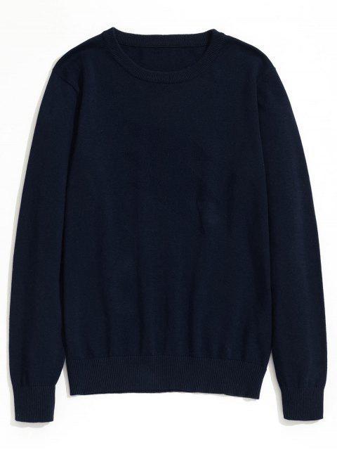 best Plain Crew Neck Knitwear - PURPLISH BLUE 3XL Mobile