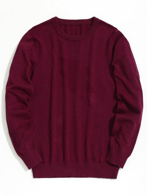 affordable Plain Crew Neck Knitwear - BURGUNDY XL Mobile