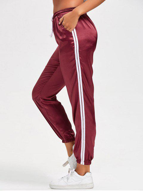 shop Drawstring Shiny Sporty Jogger Pants - RED S Mobile