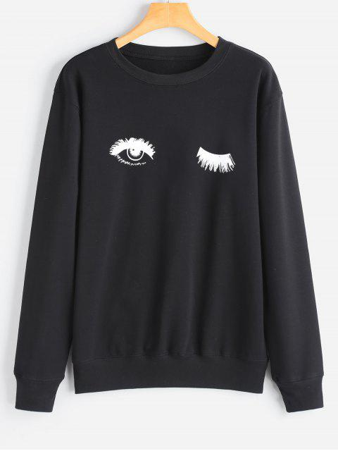 Sweat-shirt Tunique à Yeux Imprimé - Noir L Mobile