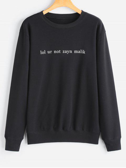 women's Letter Pullover Sweatshirt - BLACK L Mobile