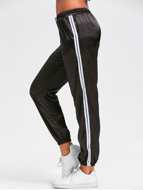 trendy Drawstring Shiny Sporty Jogger Pants - BLACK M Mobile