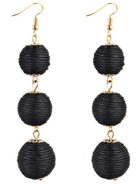latest Pair of Bon Bon Style Dangle Earrings - BLACK  Mobile