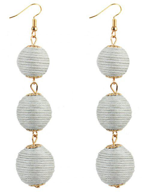 trendy Pair of Bon Bon Style Dangle Earrings - WHITE  Mobile