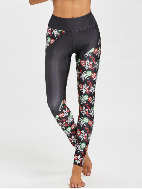 outfit Christmas Snowflake Print Fitted Leggings - BLACK L Mobile