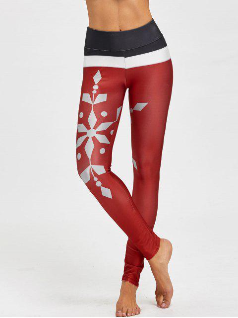 Legging avec Blocs de Couleurs Imprimé Flocons de Neige de Noël - Rouge vineux  L Mobile
