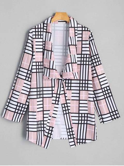 trendy Elbow Patch Checked Blazer - COLORMIX S Mobile