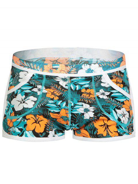 chic Elastic Waist Convex Pouch Florals Print Undershorts - COLORMIX M Mobile