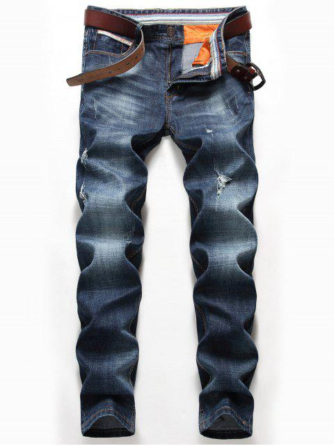 Vaqueros angulosos de pierna recta - Denim Blue 36 Mobile