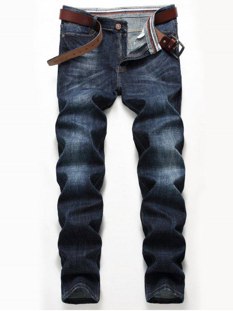 Zip-Fly Straight Leg Klassische Jeans - Denim Blau 40 Mobile