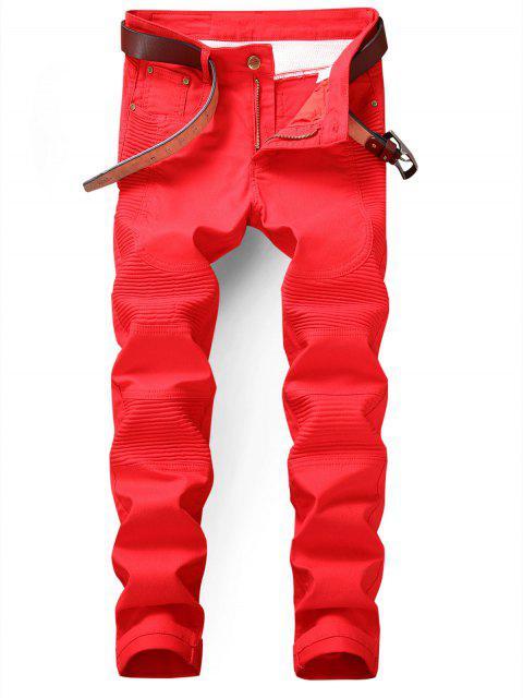 ladies Slim Fit Zip Fly Biker Jeans - RED 36 Mobile