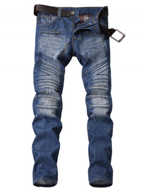 Zipper-Panel Geometrisches Nahtmaterial Gebleichte, zerrissene Jeans - Blau 32 Mobile