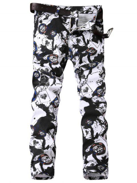 latest Zipper Fly Paint Splatter Geometric Print Jeans - BLACK WHITE 38 Mobile